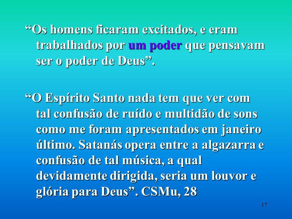 Os homens ficaram excitados, e eram trabalhados por um poder que pensavam ser o poder de Deus .