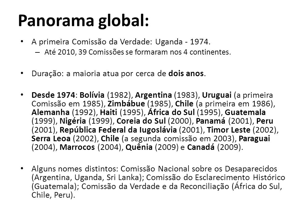 Panorama global: A primeira Comissão da Verdade: Uganda - 1974.