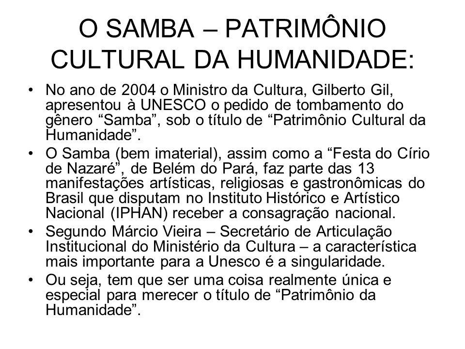 O SAMBA – PATRIMÔNIO CULTURAL DA HUMANIDADE: