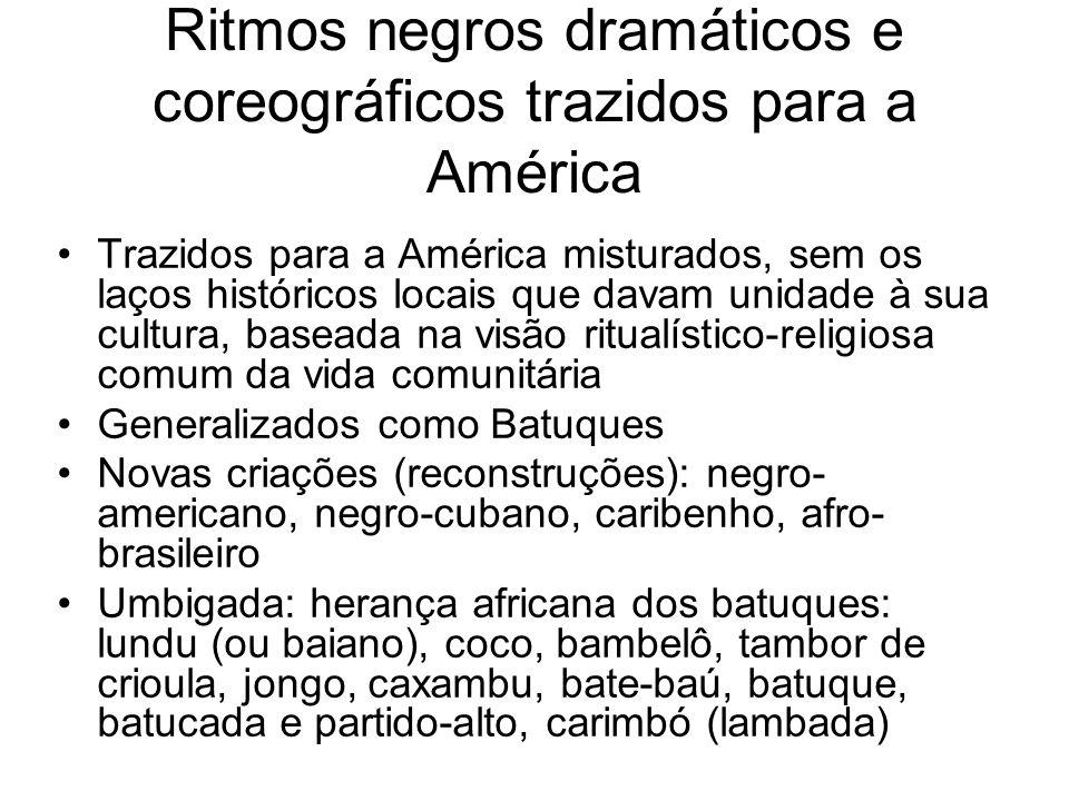 Ritmos negros dramáticos e coreográficos trazidos para a América