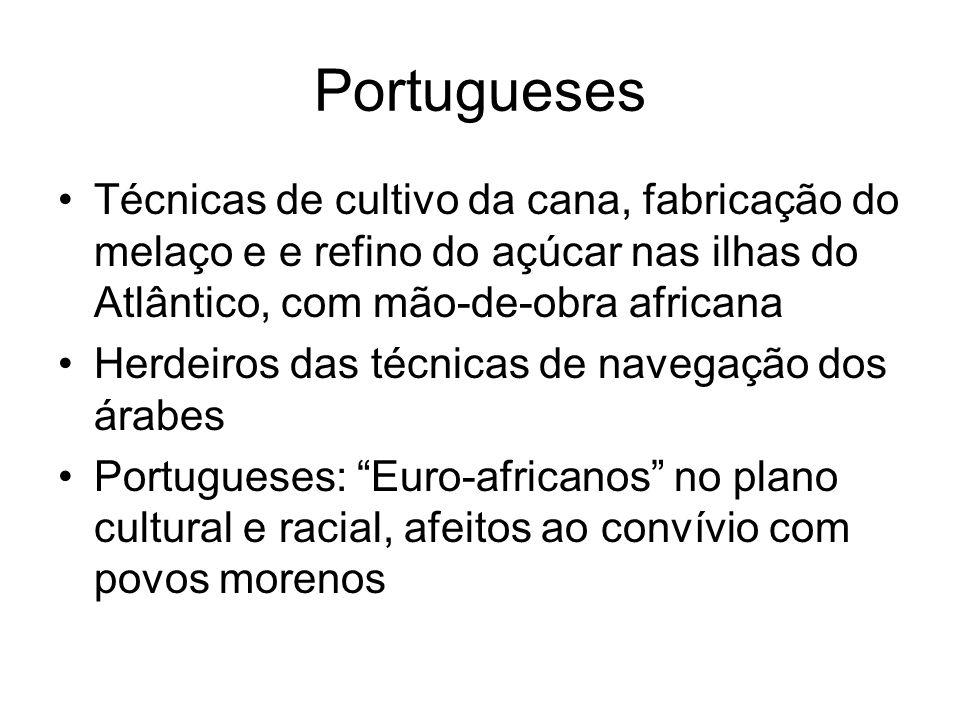 Portugueses Técnicas de cultivo da cana, fabricação do melaço e e refino do açúcar nas ilhas do Atlântico, com mão-de-obra africana.