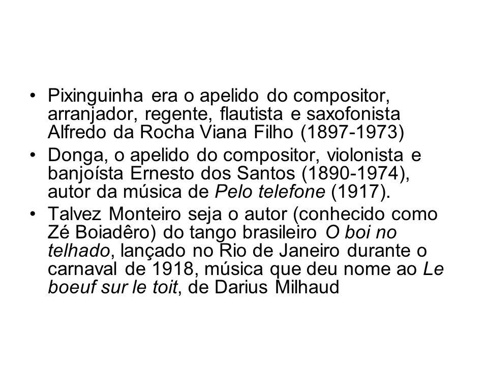 Pixinguinha era o apelido do compositor, arranjador, regente, flautista e saxofonista Alfredo da Rocha Viana Filho (1897-1973)