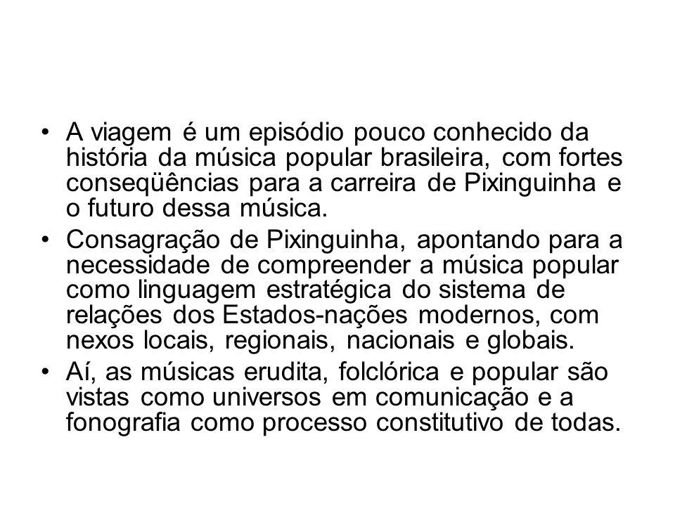 A viagem é um episódio pouco conhecido da história da música popular brasileira, com fortes conseqüências para a carreira de Pixinguinha e o futuro dessa música.
