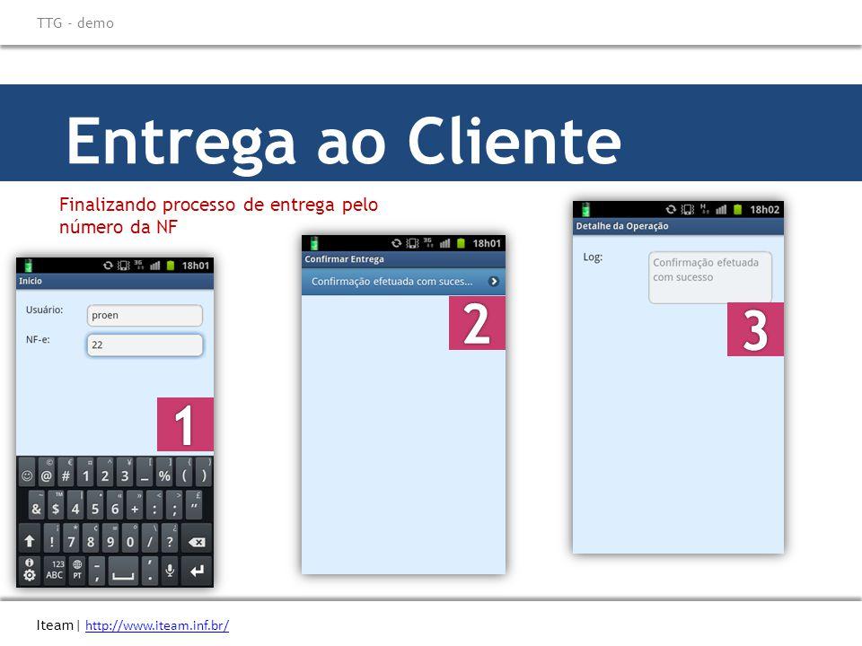 \ Titulo do eBook Iteam| http://www.iteam.inf.br/ TTG - demo. Entrega ao Cliente. Finalizando processo de entrega pelo número da NF.
