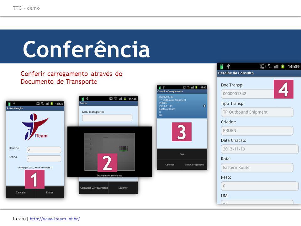 \ Titulo do eBook Iteam| http://www.iteam.inf.br/ TTG - demo. Conferência. Conferir carregamento através do Documento de Transporte.