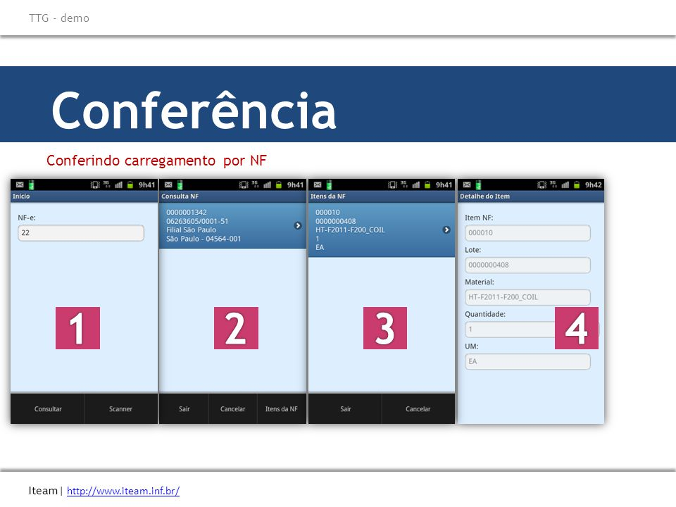 Conferência 1 2 3 4 Conferindo carregamento por NF \\ Titulo do eBook