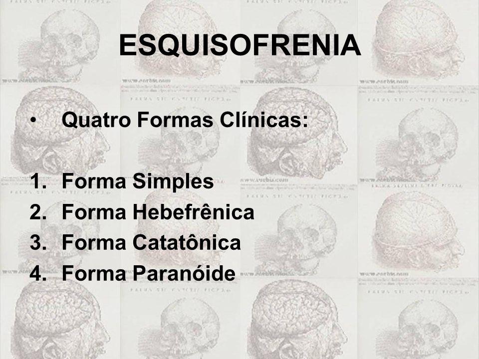 ESQUISOFRENIA Quatro Formas Clínicas: Forma Simples Forma Hebefrênica