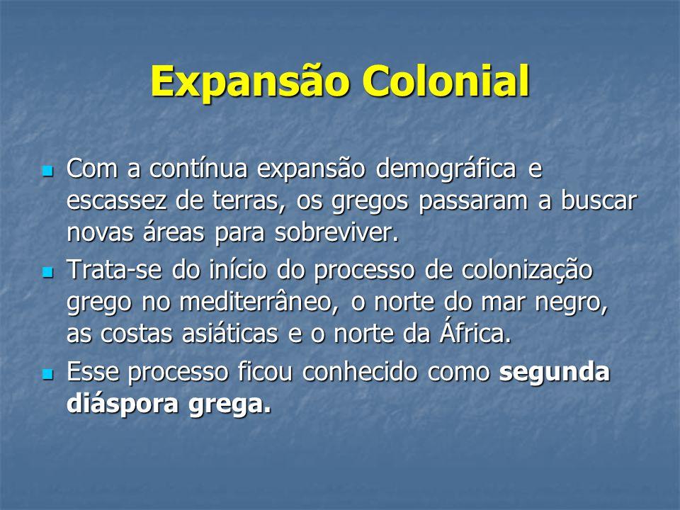 Expansão Colonial Com a contínua expansão demográfica e escassez de terras, os gregos passaram a buscar novas áreas para sobreviver.