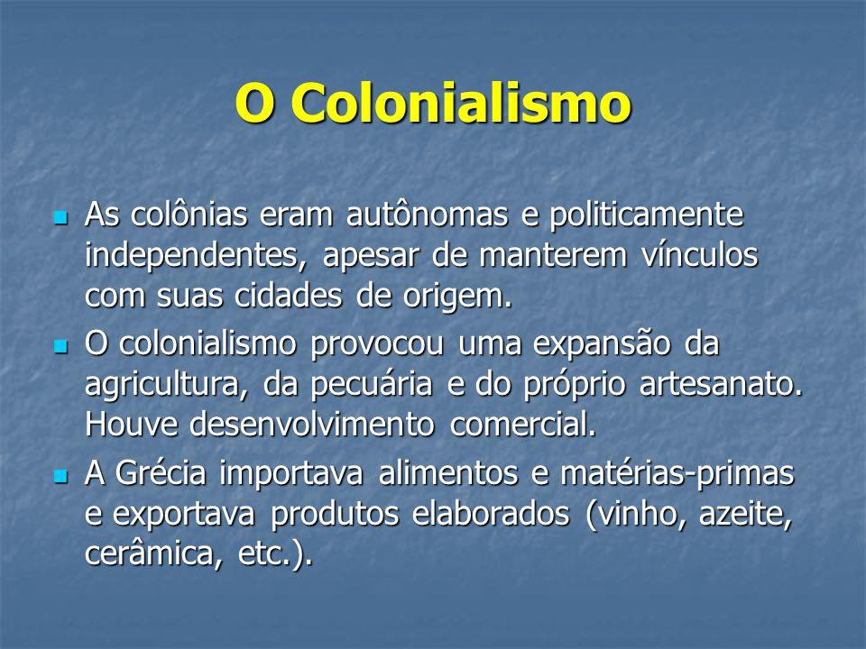 O Colonialismo As colônias eram autônomas e politicamente independentes, apesar de manterem vínculos com suas cidades de origem.