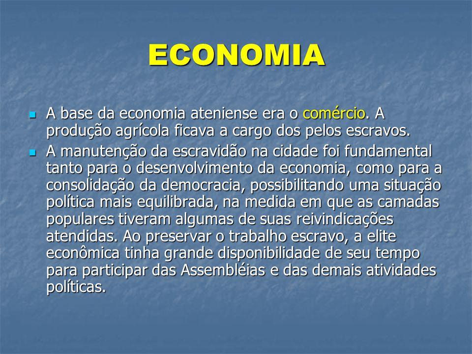 ECONOMIA A base da economia ateniense era o comércio. A produção agrícola ficava a cargo dos pelos escravos.