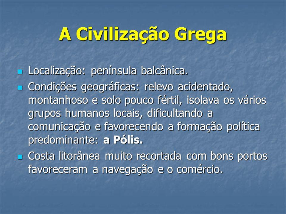 A Civilização Grega Localização: península balcânica.
