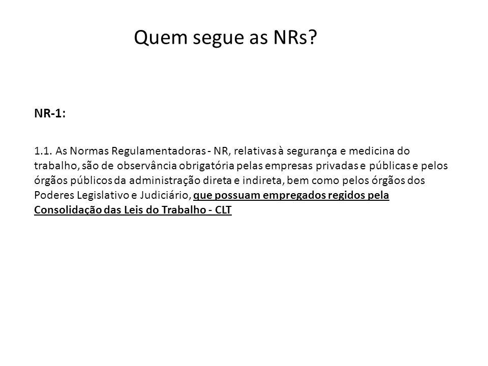 Quem segue as NRs NR-1: