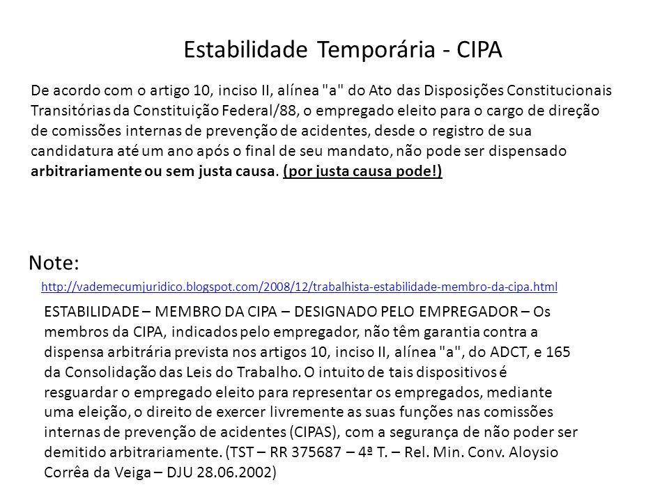 Estabilidade Temporária - CIPA