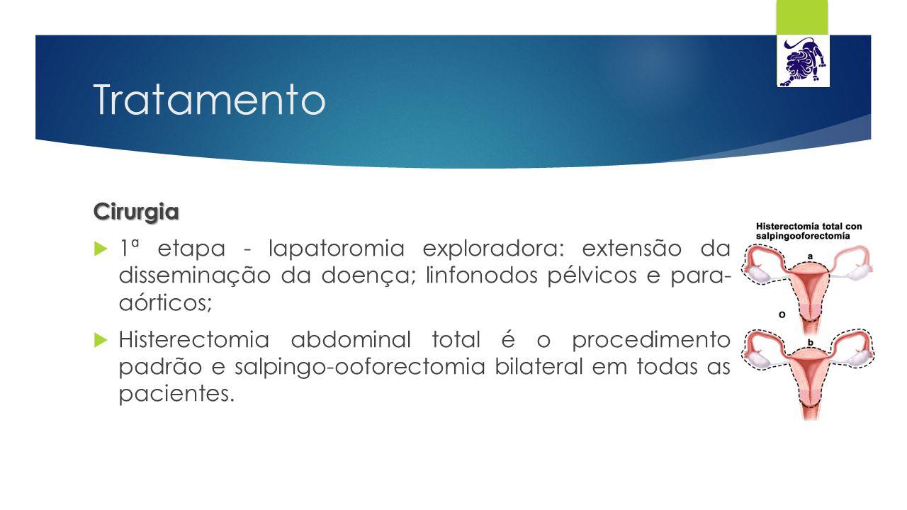 Tratamento Cirurgia. 1ª etapa - lapatoromia exploradora: extensão da disseminação da doença; linfonodos pélvicos e para- aórticos;