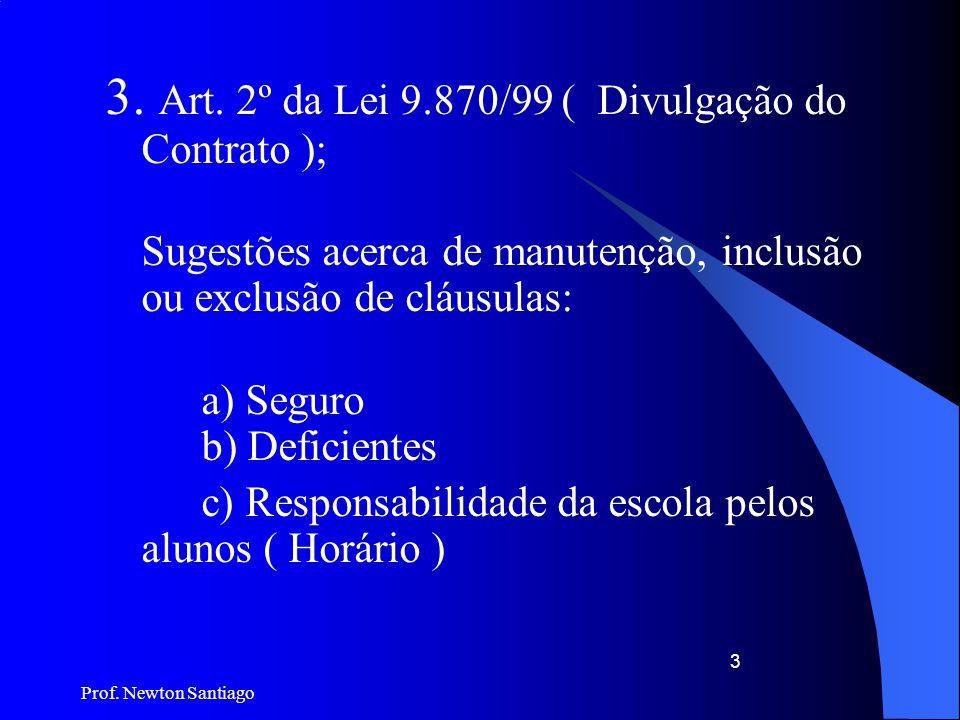 3. Art. 2º da Lei 9.870/99 ( Divulgação do Contrato );
