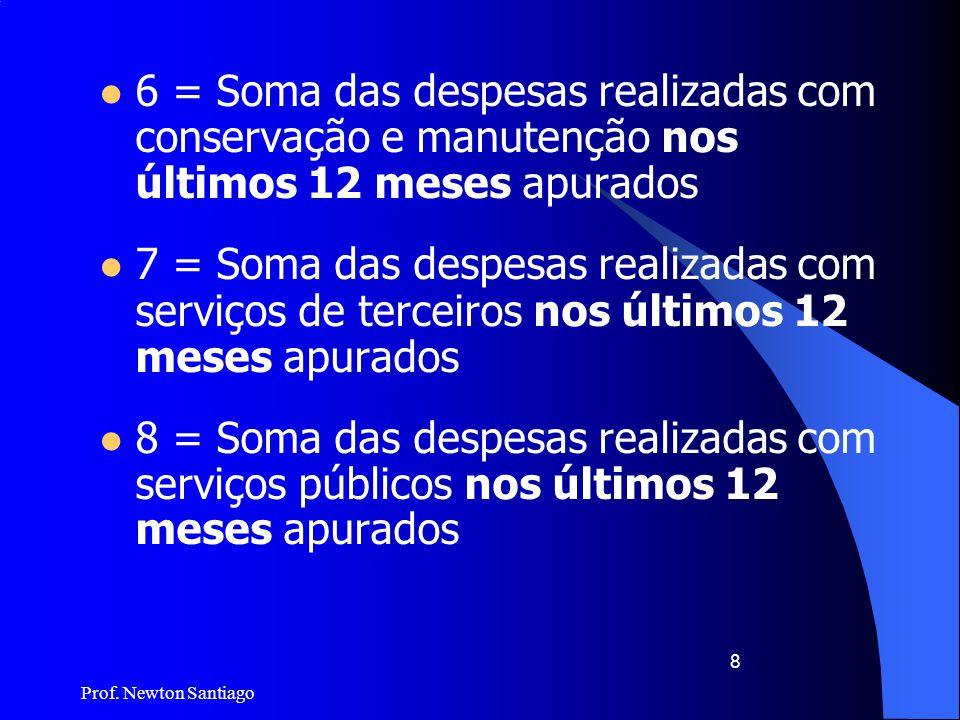 6 = Soma das despesas realizadas com conservação e manutenção nos últimos 12 meses apurados
