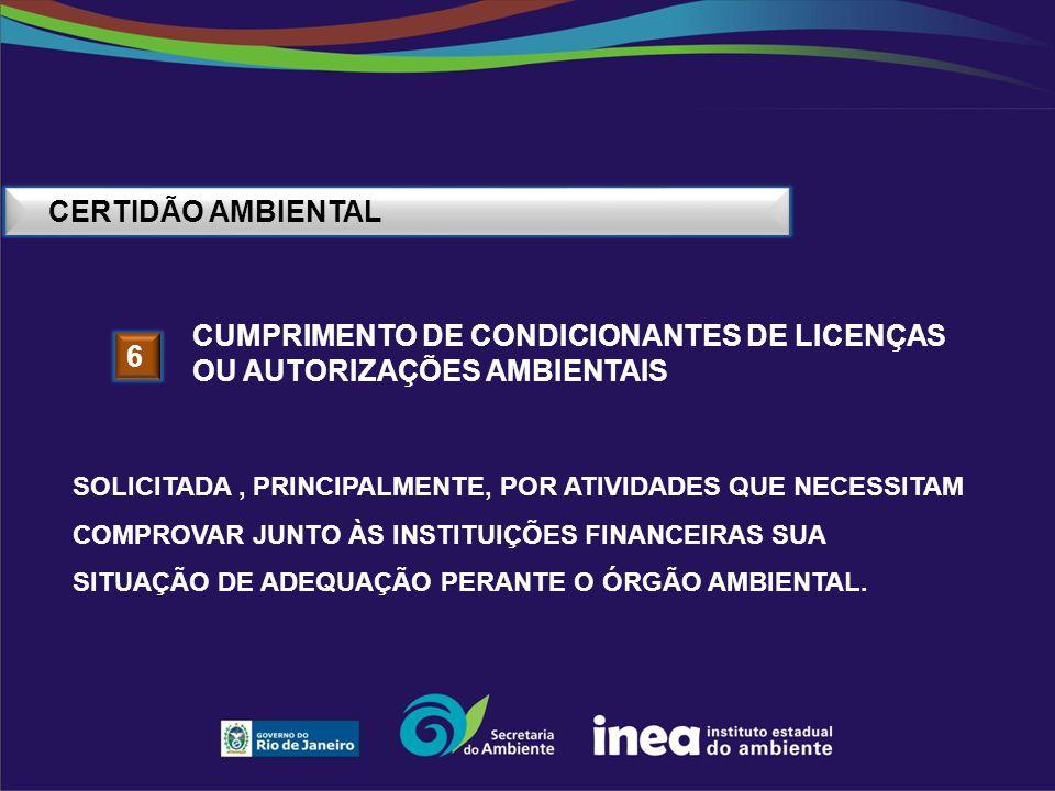 cumprimento de condicionantes de licenças ou autorizações ambientais 6