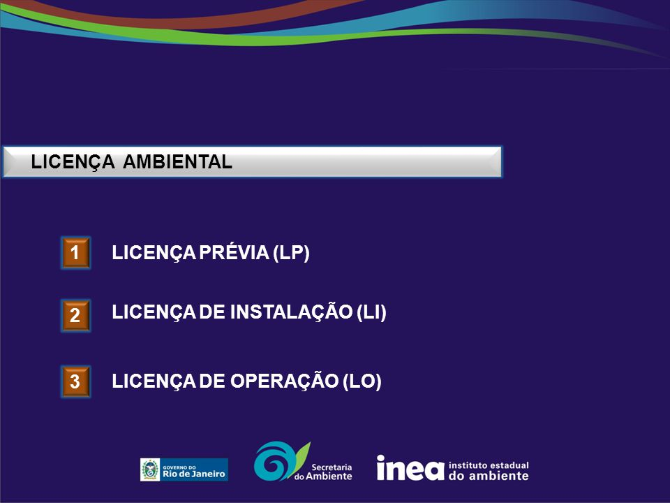 LICENÇA AMBIENTAL Licença Prévia (LP) 1 Licença DE INSTALAÇÃO (LI) 2 Licença DE operação (LO) 3