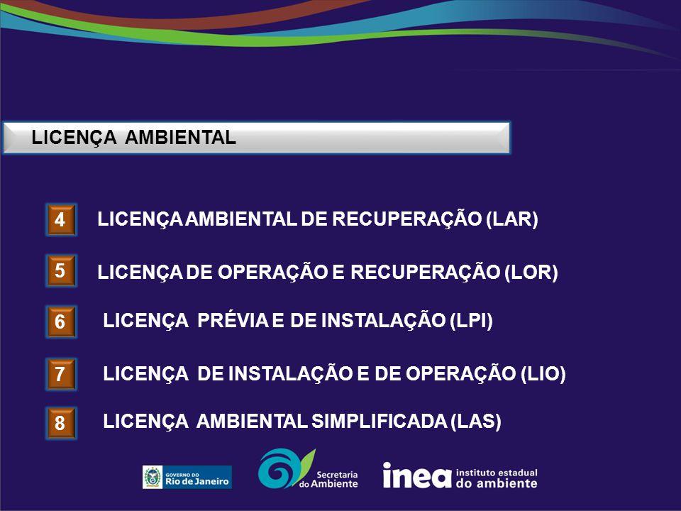 LICENÇA AMBIENTAL Licença ambiental de recuperação (Lar) 4. Licença DE OPERAÇÃO e recuperação (LOr)