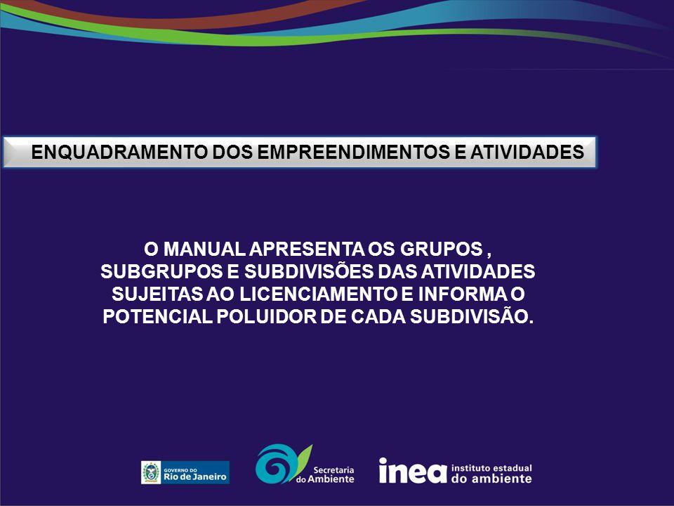 ENQUADRAMENTO DOS EMPREENDIMENTOS E ATIVIDADES