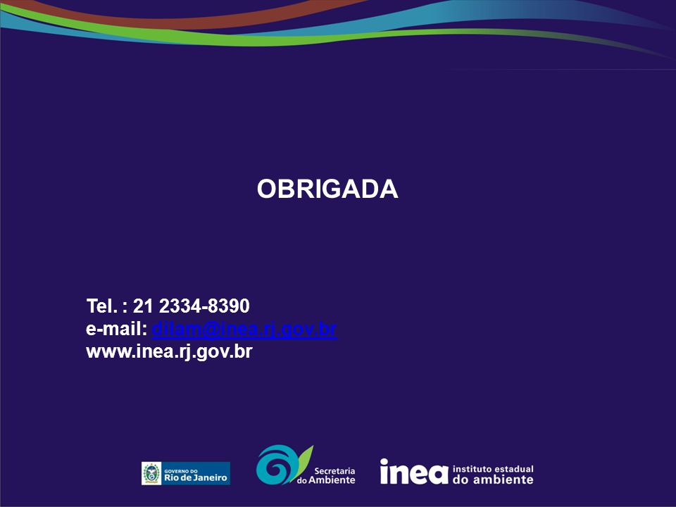 OBRIGADA Tel. : 21 2334-8390 e-mail: dilam@inea.rj.gov.br