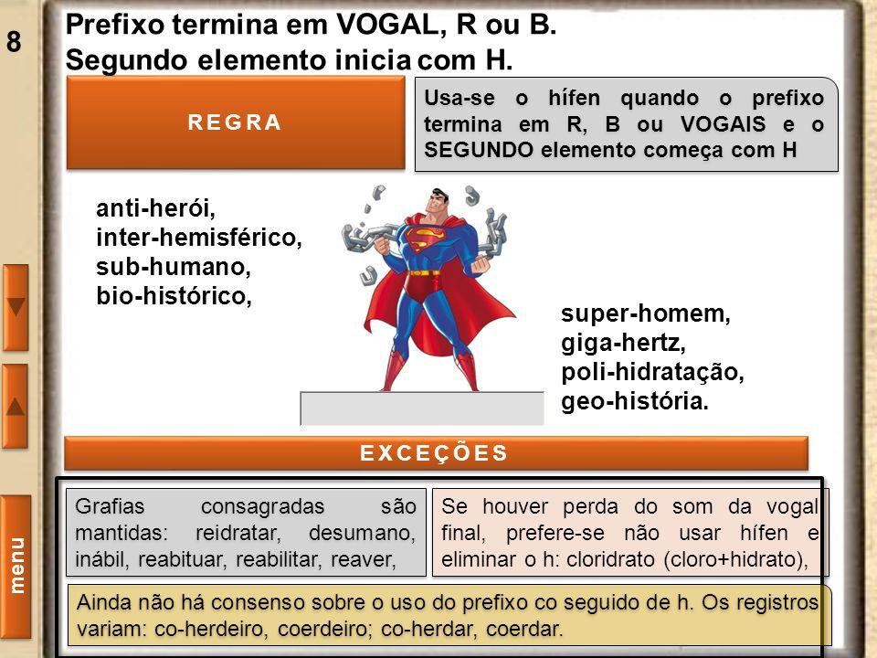 Prefixo termina em VOGAL, R ou B. Segundo elemento inicia com H.
