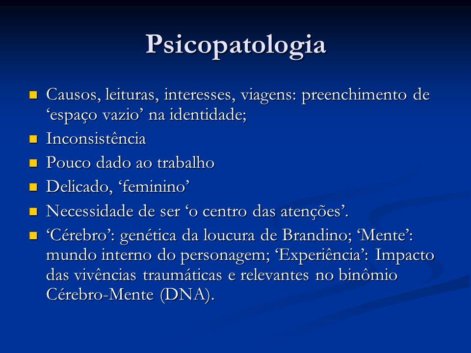 Psicopatologia Causos, leituras, interesses, viagens: preenchimento de 'espaço vazio' na identidade;