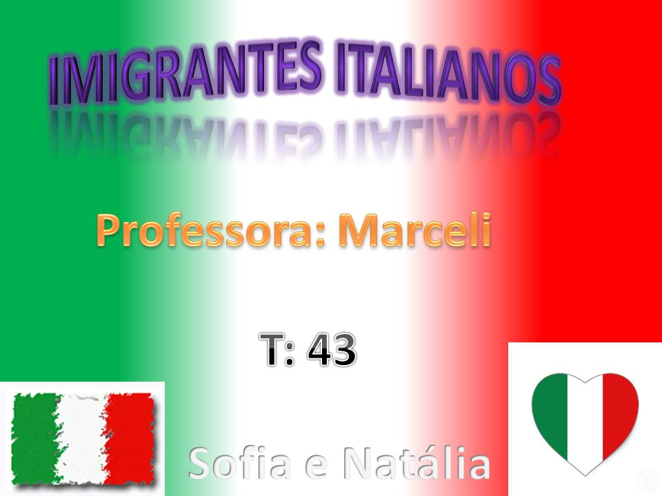 Imigrantes italianos Professora: Marceli T: 43 Sofia e Natália