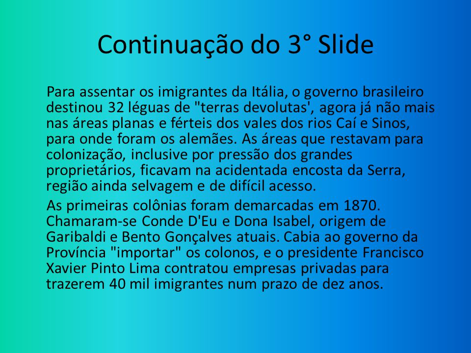 Continuação do 3° Slide