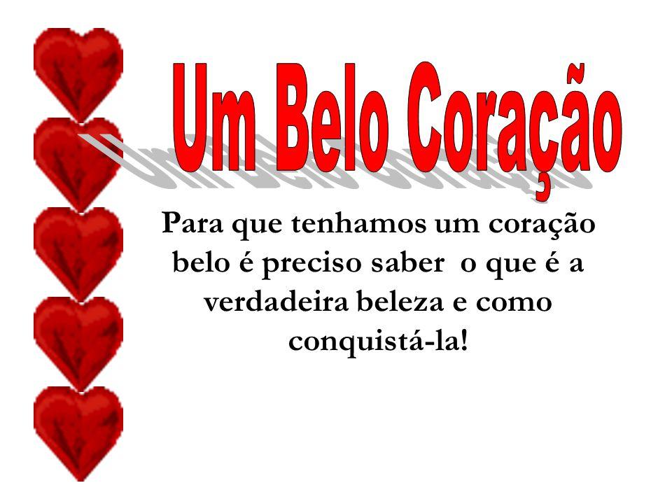 Um Belo Coração Para que tenhamos um coração belo é preciso saber o que é a verdadeira beleza e como conquistá-la!