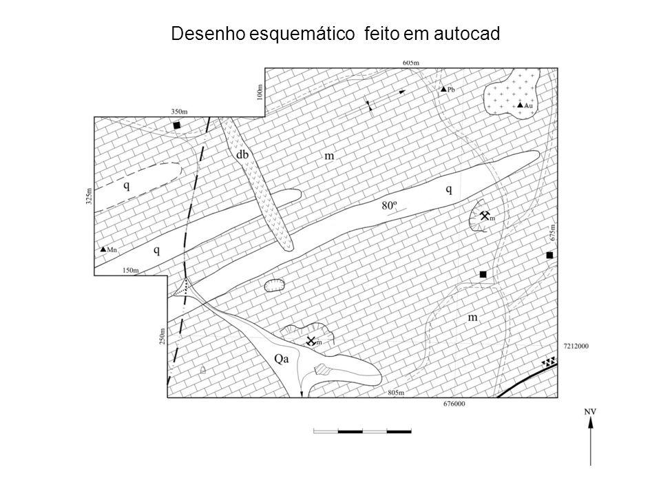 Desenho esquemático feito em autocad