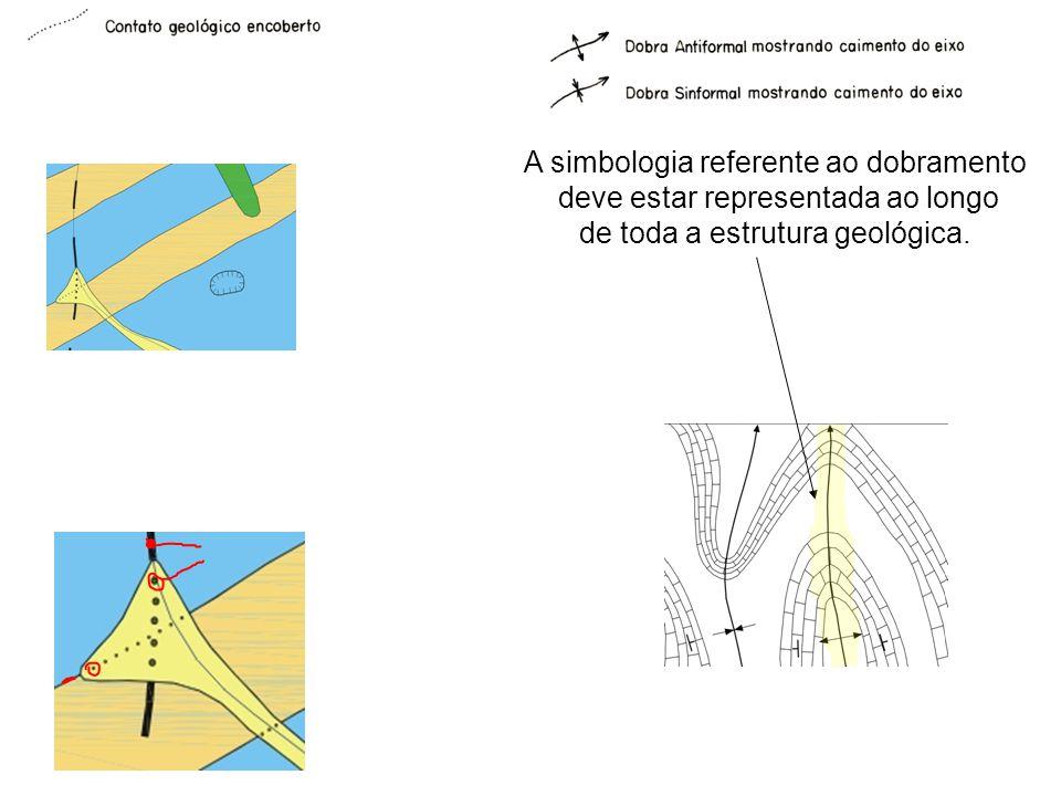A simbologia referente ao dobramento deve estar representada ao longo