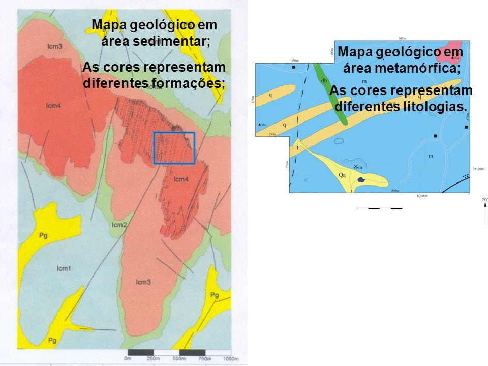 diferentes formações; diferentes litologias.
