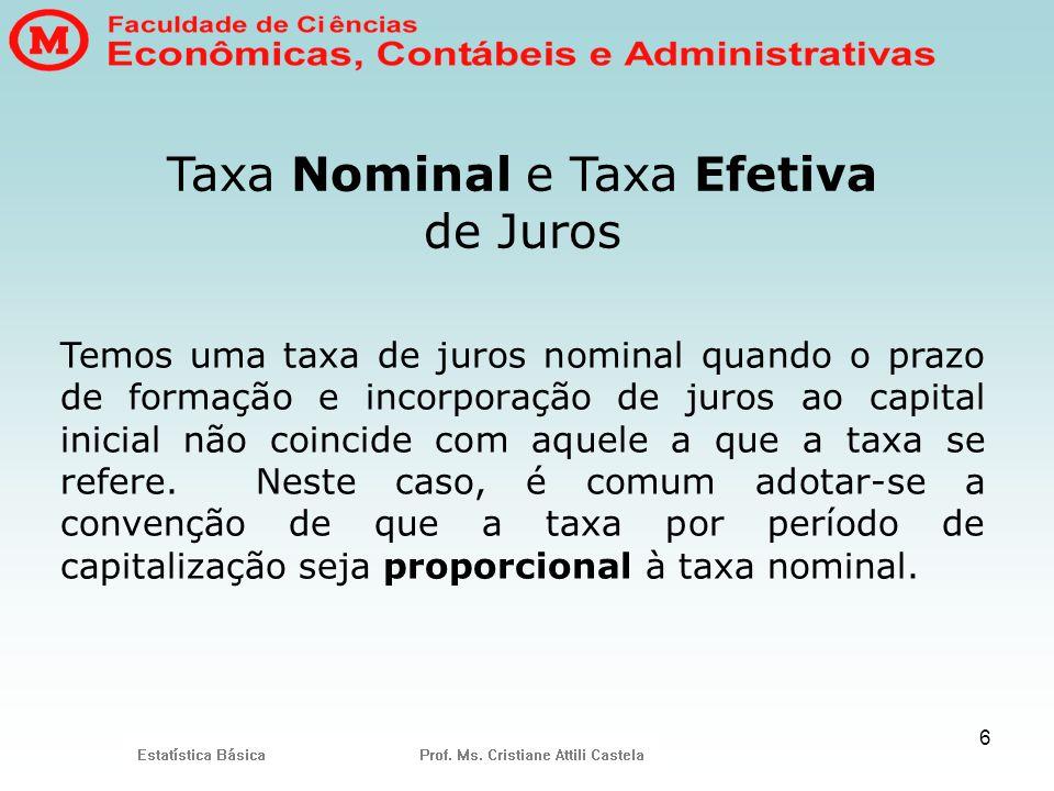 Taxa Nominal e Taxa Efetiva de Juros