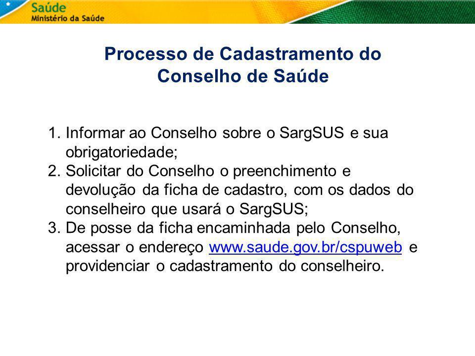 Processo de Cadastramento do Conselho de Saúde