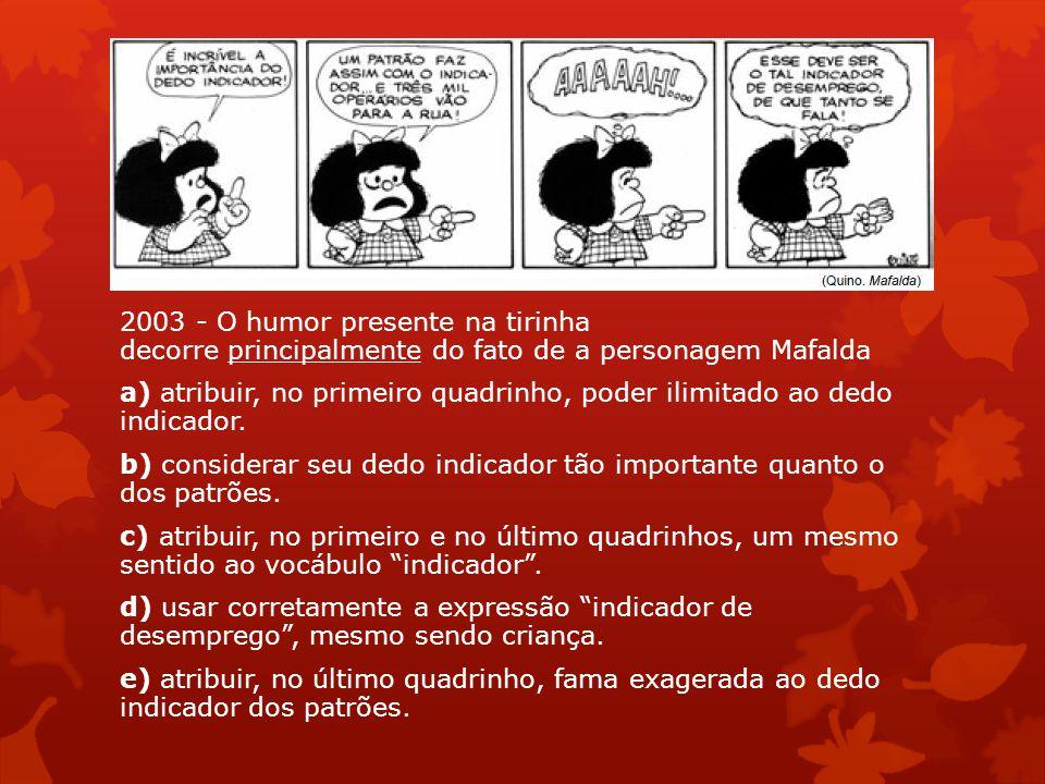 2003 - O humor presente na tirinha decorre principalmente do fato de a personagem Mafalda a) atribuir, no primeiro quadrinho, poder ilimitado ao dedo indicador.