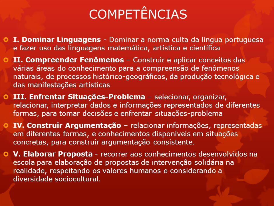 COMPETÊNCIAS I. Dominar Linguagens - Dominar a norma culta da língua portuguesa e fazer uso das linguagens matemática, artística e científica