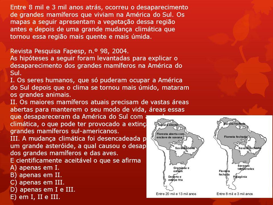 Entre 8 mil e 3 mil anos atrás, ocorreu o desaparecimento de grandes mamíferos que viviam na América do Sul.