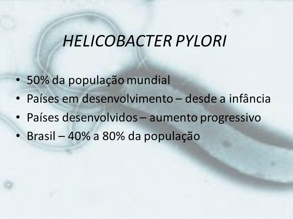 HELICOBACTER PYLORI 50% da população mundial