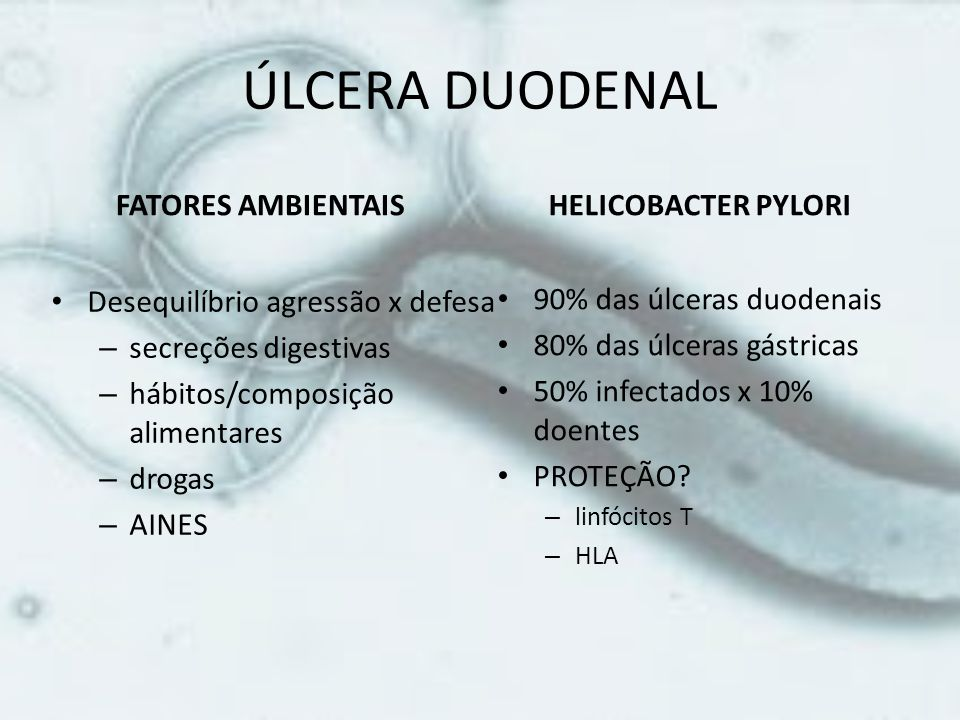 ÚLCERA DUODENAL FATORES AMBIENTAIS HELICOBACTER PYLORI