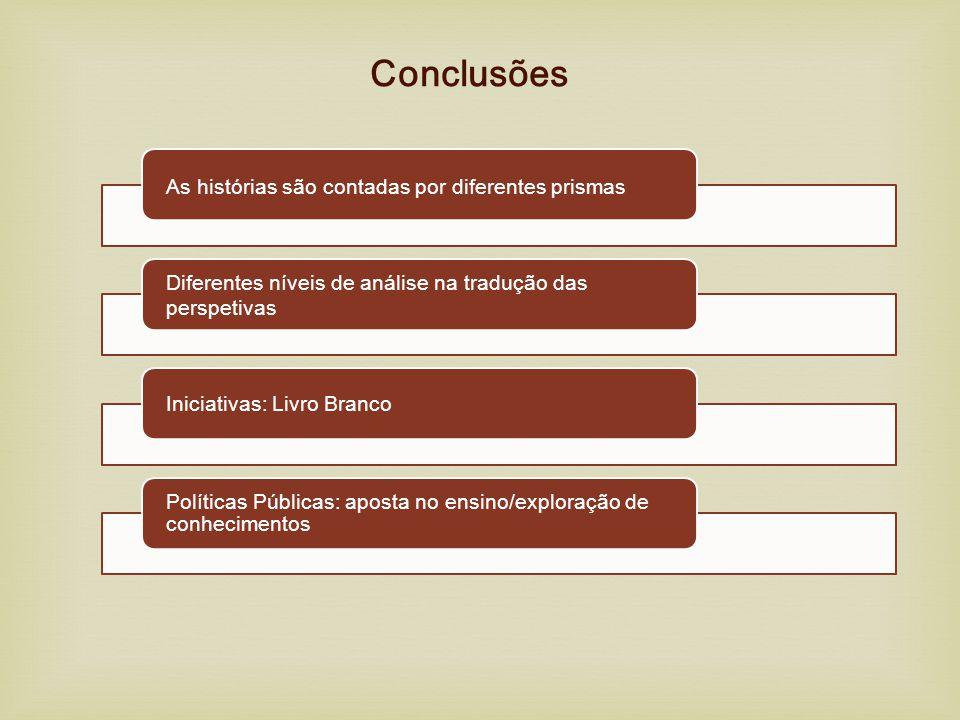 Conclusões As histórias são contadas por diferentes prismas