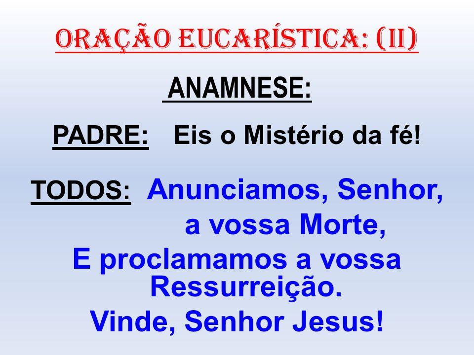 ORAÇÃO EUCARÍSTICA: (II) ANAMNESE: