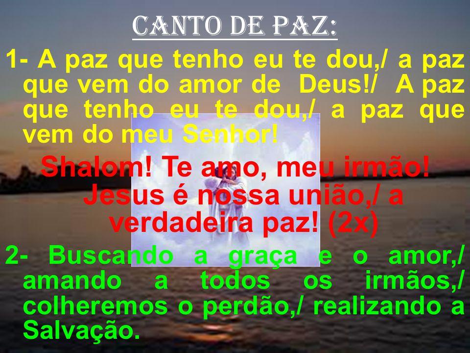 canto de paz: 1- A paz que tenho eu te dou,/ a paz que vem do amor de Deus!/ A paz que tenho eu te dou,/ a paz que vem do meu Senhor!