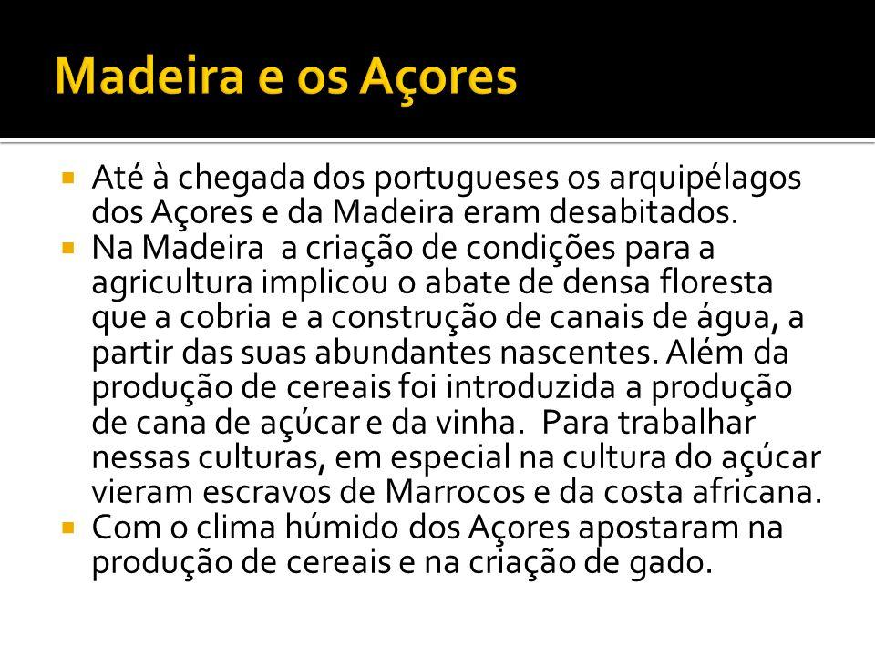 Madeira e os Açores Até à chegada dos portugueses os arquipélagos dos Açores e da Madeira eram desabitados.
