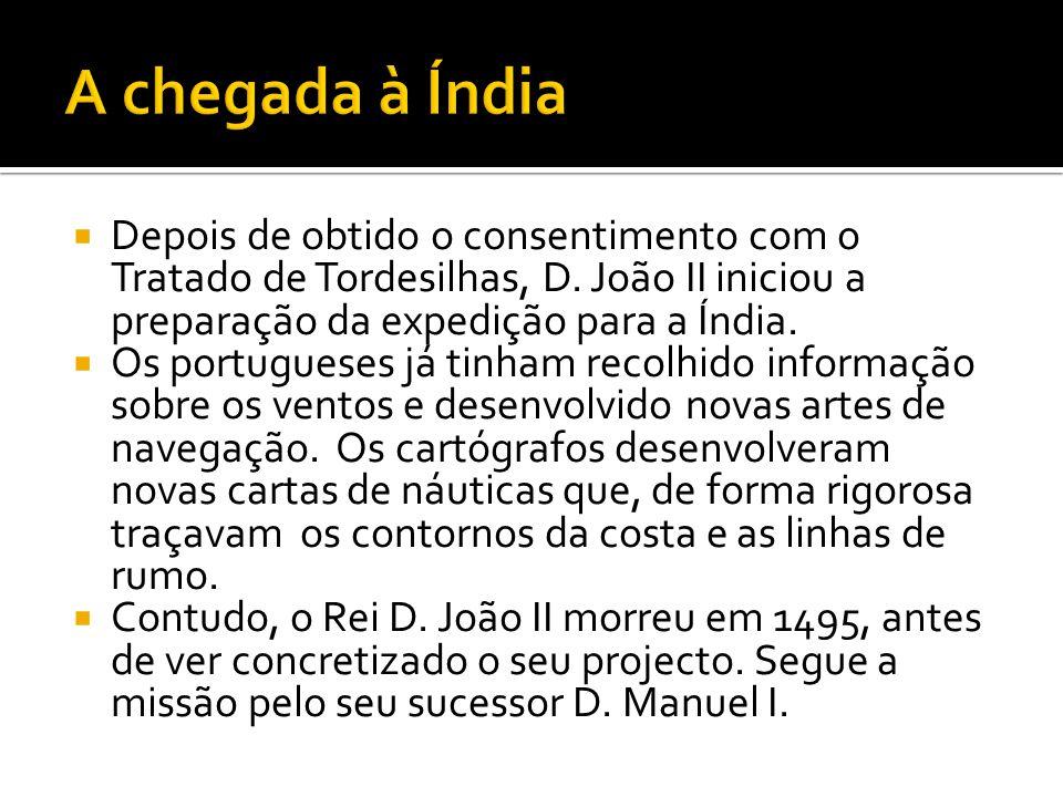 A chegada à Índia Depois de obtido o consentimento com o Tratado de Tordesilhas, D. João II iniciou a preparação da expedição para a Índia.