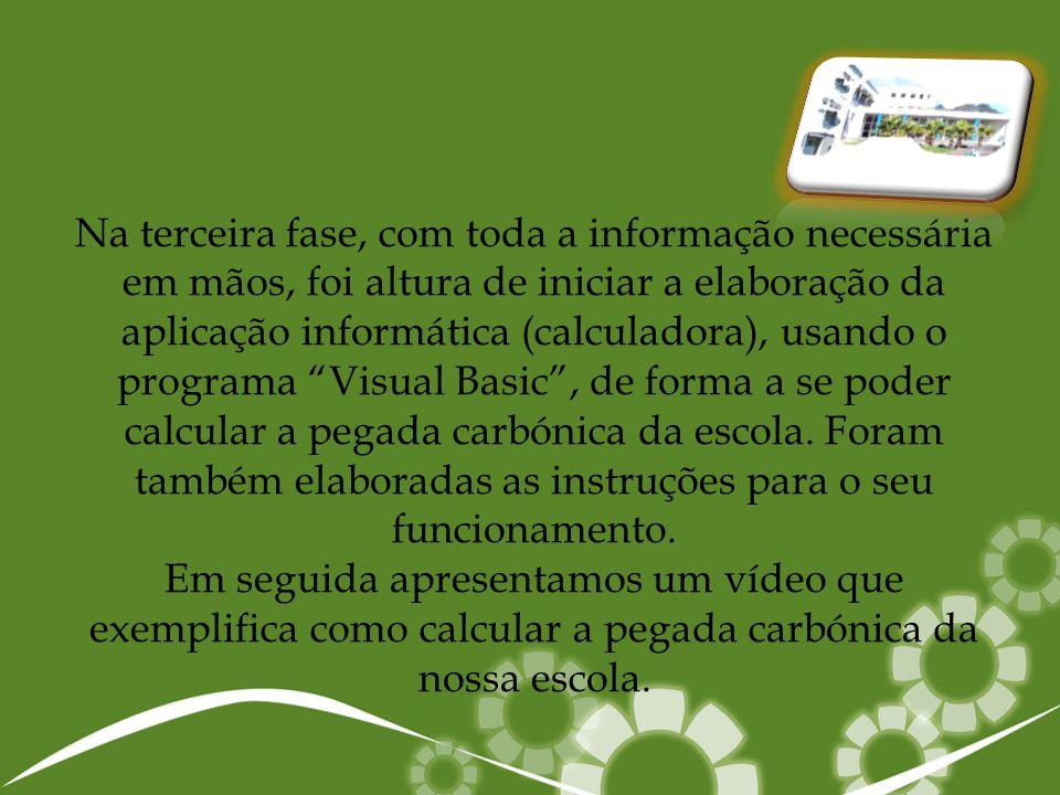Na terceira fase, com toda a informação necessária em mãos, foi altura de iniciar a elaboração da aplicação informática (calculadora), usando o programa Visual Basic , de forma a se poder calcular a pegada carbónica da escola.