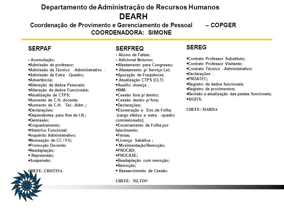 DEARH Departamento de Administração de Recursos Humanos