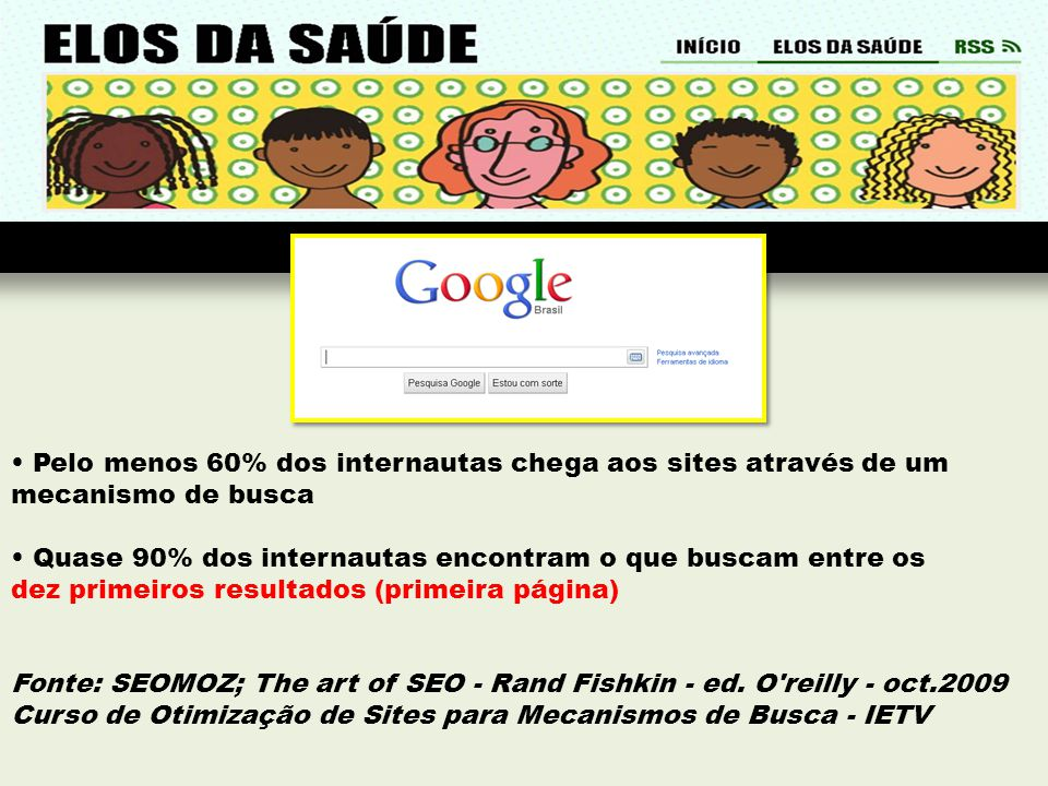 • Pelo menos 60% dos internautas chega aos sites através de um mecanismo de busca