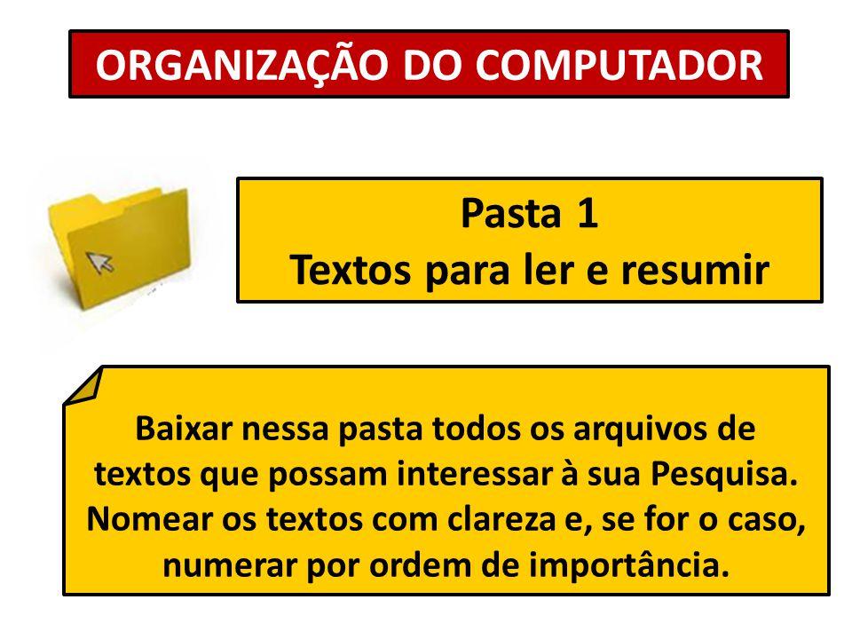 ORGANIZAÇÃO DO COMPUTADOR Textos para ler e resumir
