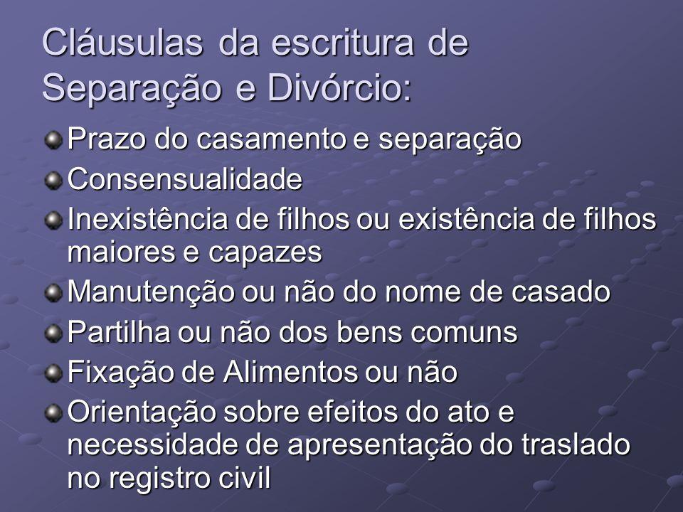 Cláusulas da escritura de Separação e Divórcio: